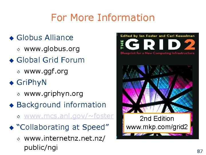 For More Information u Globus Alliance ◊ u Global Grid Forum ◊ u www.