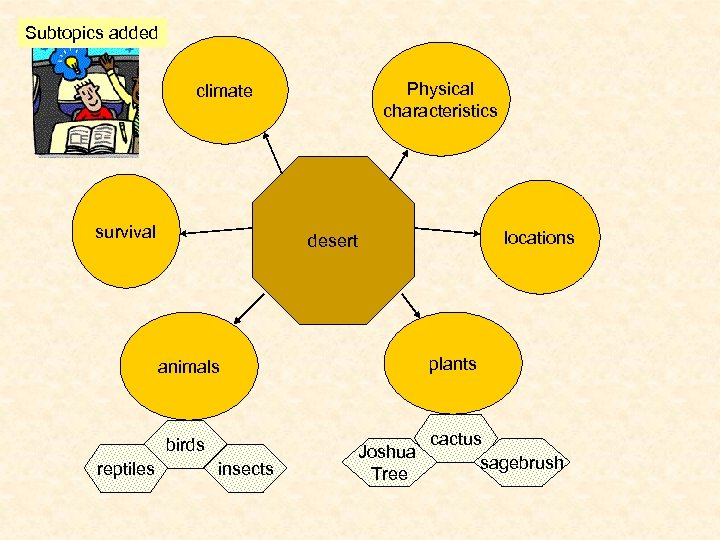 Subtopics added Physical characteristics climate survival locations desert plants animals birds reptiles insects Joshua