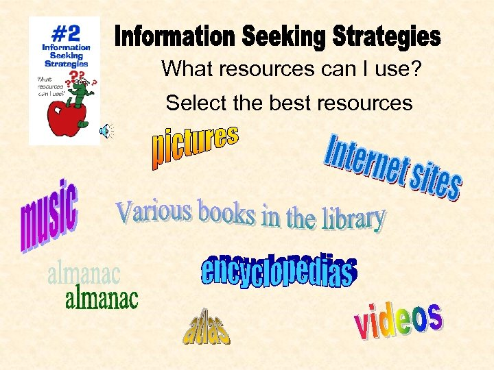 What resources can I use? Select the best resources