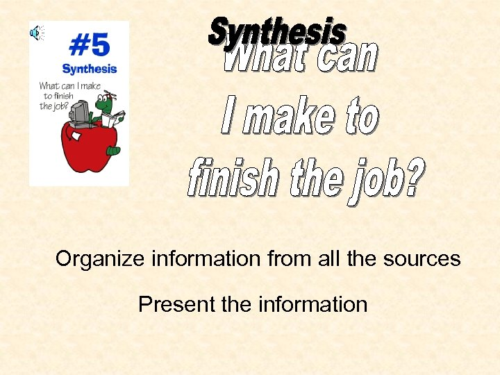 Organize information from all the sources Present the information