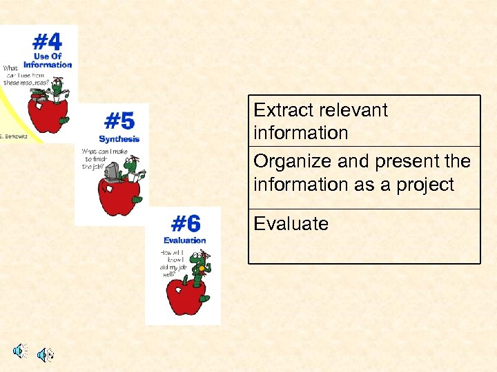 Extract relevant information Organize and present the information as a project Evaluate