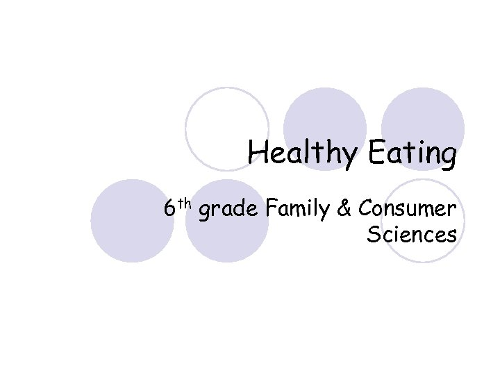 Healthy Eating 6 th grade Family & Consumer Sciences