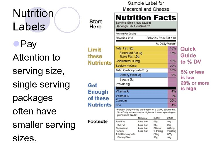 Nutrition Labels l Pay Attention to serving size, single serving packages often have smaller