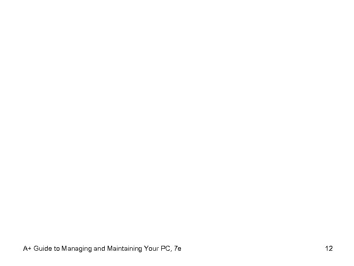 A+ Guide to Managing and Maintaining Your PC, 7 e 12