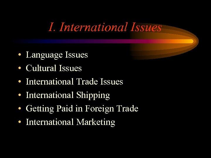 I. International Issues • • • Language Issues Cultural Issues International Trade Issues International