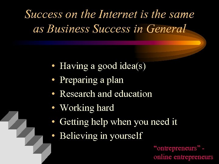 Success on the Internet is the same as Business Success in General • •