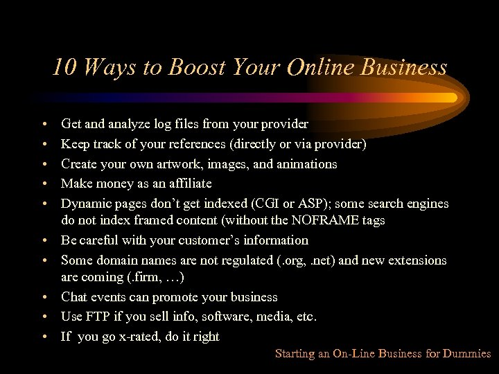 10 Ways to Boost Your Online Business • • • Get and analyze log