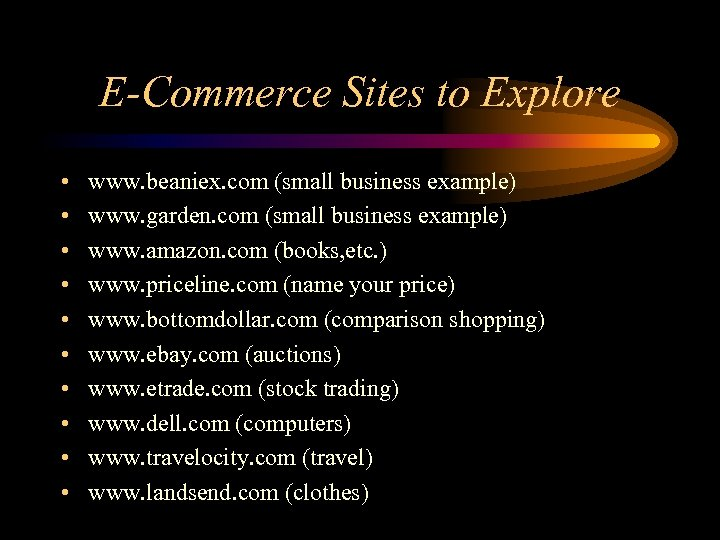 E-Commerce Sites to Explore • • • www. beaniex. com (small business example) www.