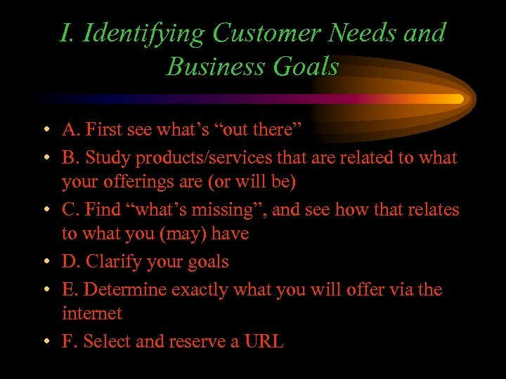 """I. Identifying Customer Needs and Business Goals • A. First see what's """"out there"""""""