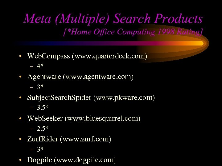 Meta (Multiple) Search Products [*Home Office Computing 1998 Rating] • Web. Compass (www. quarterdeck.
