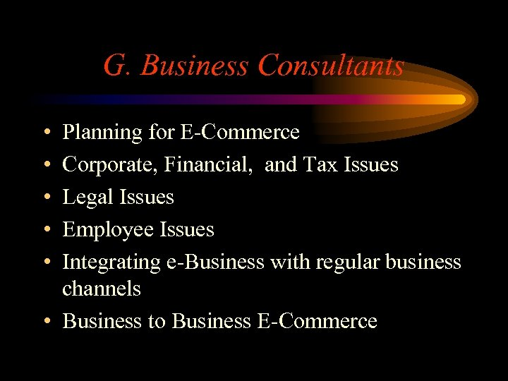 G. Business Consultants • • • Planning for E-Commerce Corporate, Financial, and Tax Issues