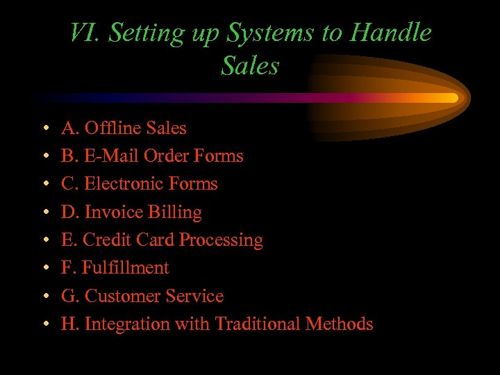 VI. Setting up Systems to Handle Sales • • A. Offline Sales B. E-Mail