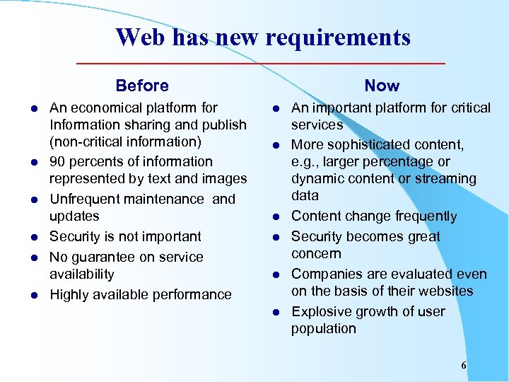 Web has new requirements Before l l l An economical platform for Information sharing