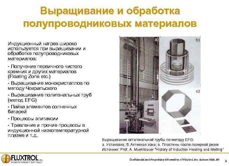 Выращивание и обработка полупроводниковых материалов Индукционный нагрев широко используется при выращивании и обработке полупроводниковых