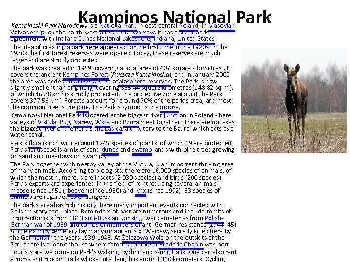 Kampinos National Park Kampinoski Park Narodowy is a National Park in east-central Poland, in