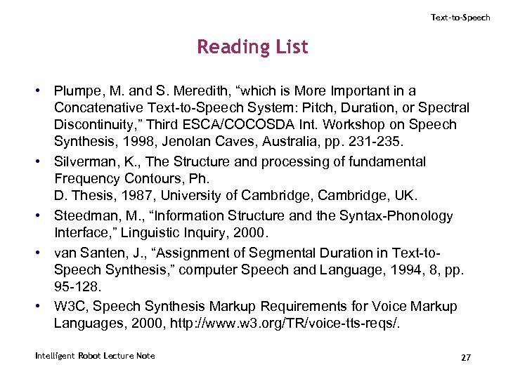 """Text-to-Speech Reading List • Plumpe, M. and S. Meredith, """"which is More Important in"""