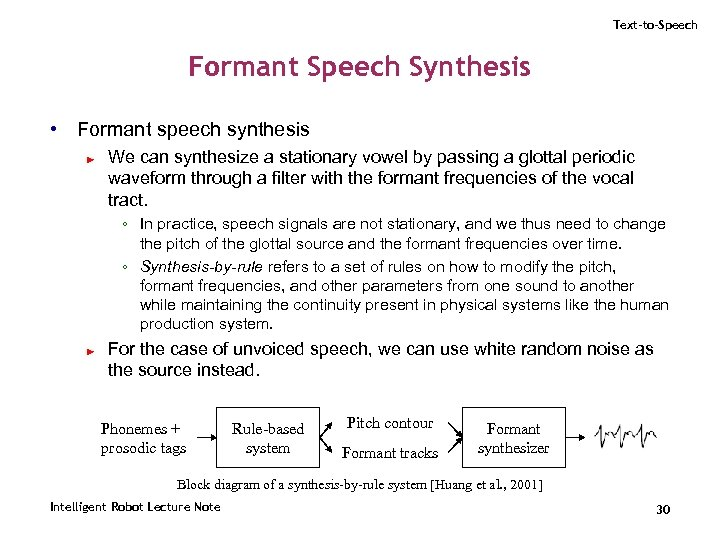 Text-to-Speech Formant Speech Synthesis • Formant speech synthesis ► We can synthesize a stationary