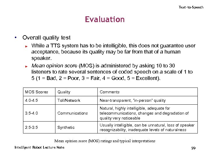 Text-to-Speech Evaluation • Overall quality test ► ► While a TTS system has to