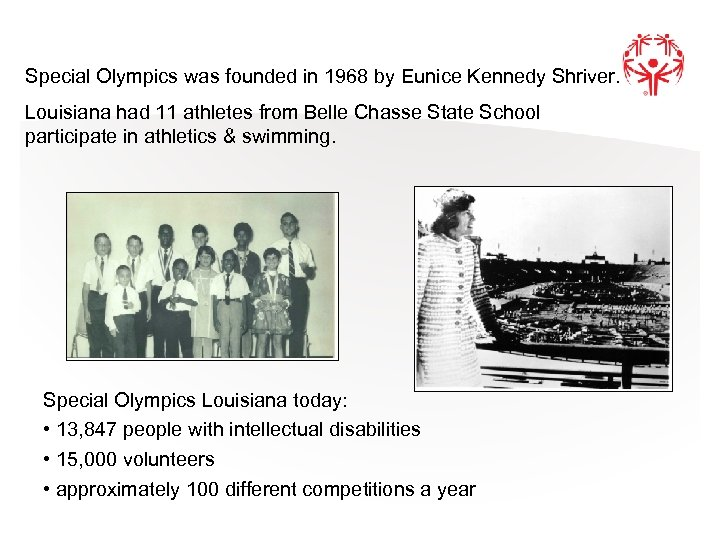 Special Olympics was founded in 1968 by Eunice Kennedy Shriver. Louisiana had 11 athletes