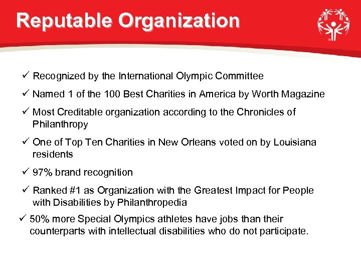 Reputable Organization ü Recognized by the International Olympic Committee ü Named 1 of the