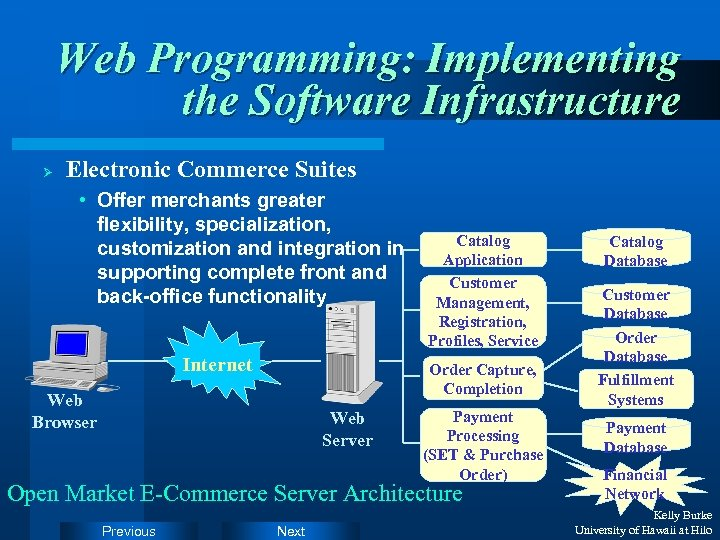 Web Programming: Implementing the Software Infrastructure Ø Electronic Commerce Suites • Offer merchants greater