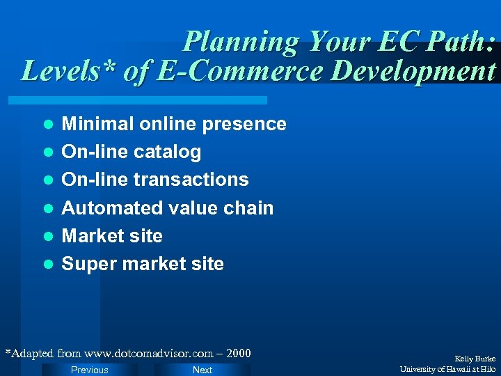 Planning Your EC Path: Levels* of E-Commerce Development l l l Minimal online presence