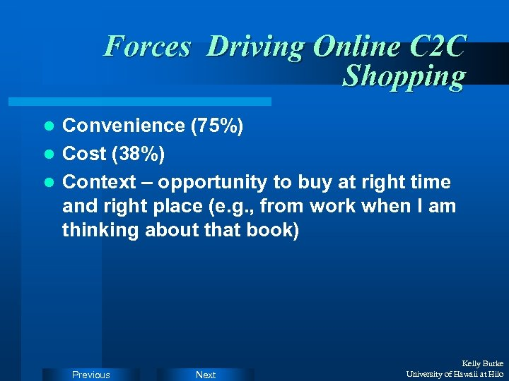 Forces Driving Online C 2 C Shopping Convenience (75%) l Cost (38%) l Context