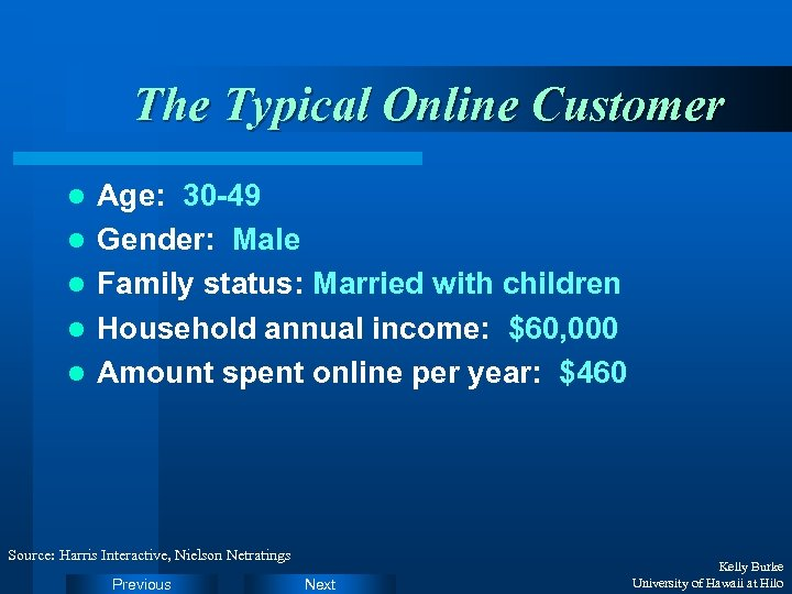 The Typical Online Customer l l l Age: 30 -49 Gender: Male Family status: