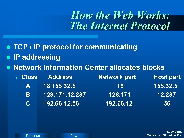 How the Web Works: The Internet Protocol TCP / IP protocol for communicating l