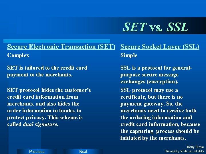 SET vs. SSL Secure Electronic Transaction (SET) Secure Socket Layer (SSL) Complex Simple SET