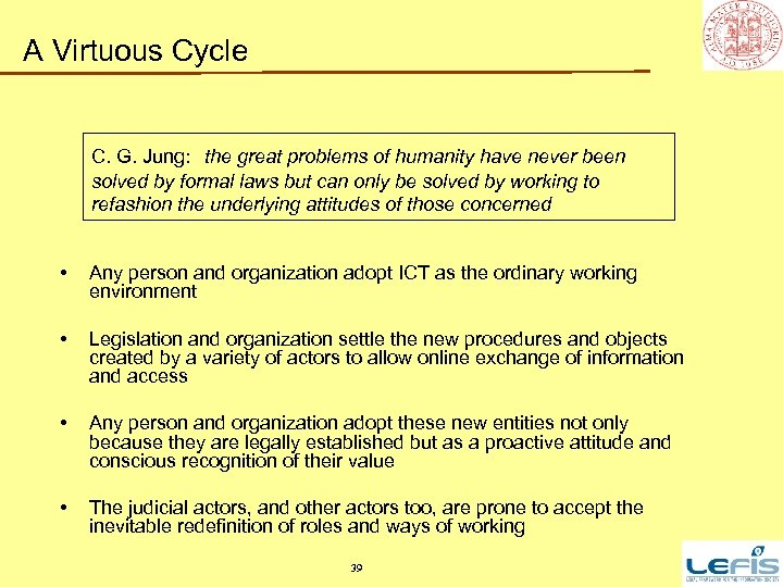 A Virtuous Cycle C. G. Jung: the great problems of humanity have never been
