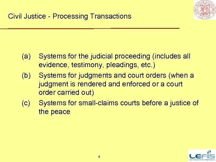 Civil Justice - Processing Transactions (a) (b) (c) Systems for the judicial proceeding (includes