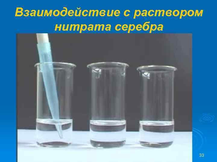 Взаимодействие с раствором нитрата серебра 33