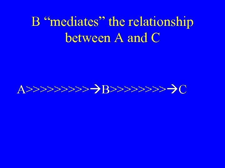 """B """"mediates"""" the relationship between A and C A>>>>> B>>>> C"""