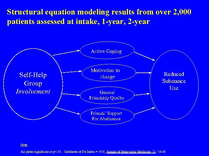 Structural equation modeling results from over 2, 000 patients assessed at intake, 1 -year,