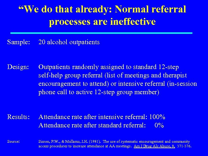 """""""We do that already: Normal referral processes are ineffective Sample: 20 alcohol outpatients Design:"""