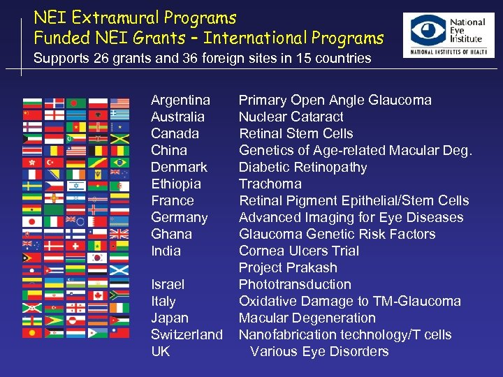 NEI Extramural Programs Funded NEI Grants – International Programs Supports 26 grants and 36
