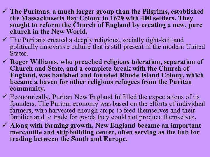 HISTORY OF THE USA PURITANS ü