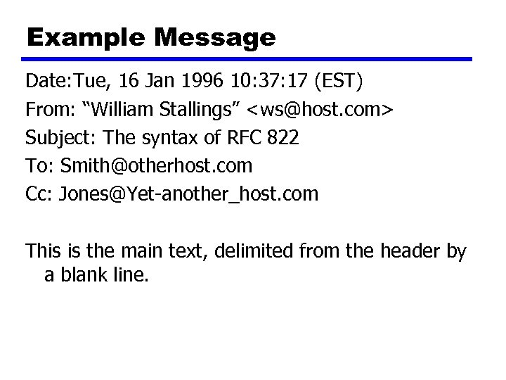 "Example Message Date: Tue, 16 Jan 1996 10: 37: 17 (EST) From: ""William Stallings"""