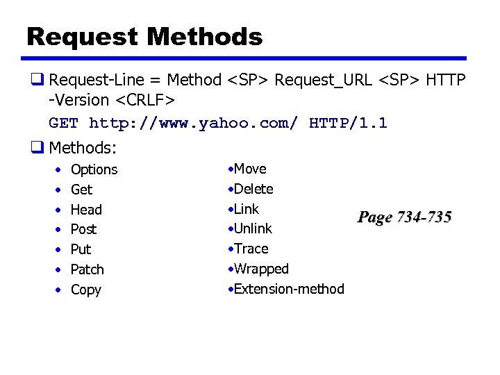 Request Methods q Request-Line = Method <SP> Request_URL <SP> HTTP -Version <CRLF> GET http:
