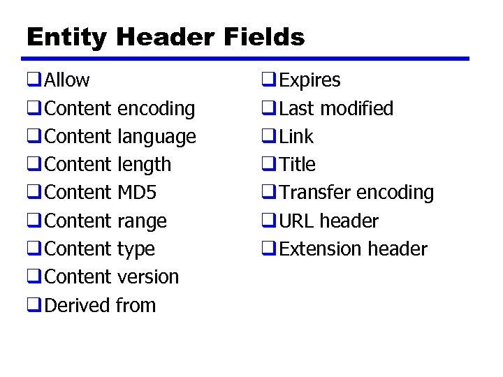 Entity Header Fields q Allow q Content encoding q Content language q Content length