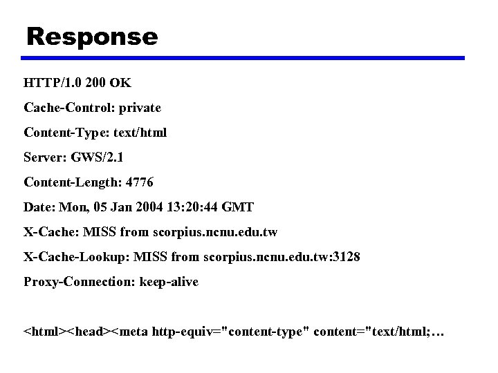 Response HTTP/1. 0 200 OK Cache-Control: private Content-Type: text/html Server: GWS/2. 1 Content-Length: 4776