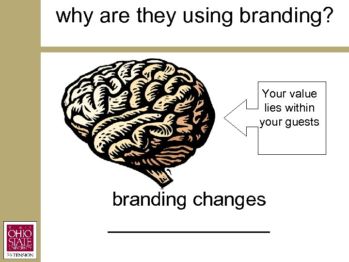 why are they using branding? Your value lies within your guests branding changes ________