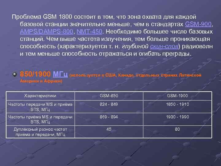 Проблема GSM 1800 состоит в том, что зона охвата для каждой базовой станции значительно