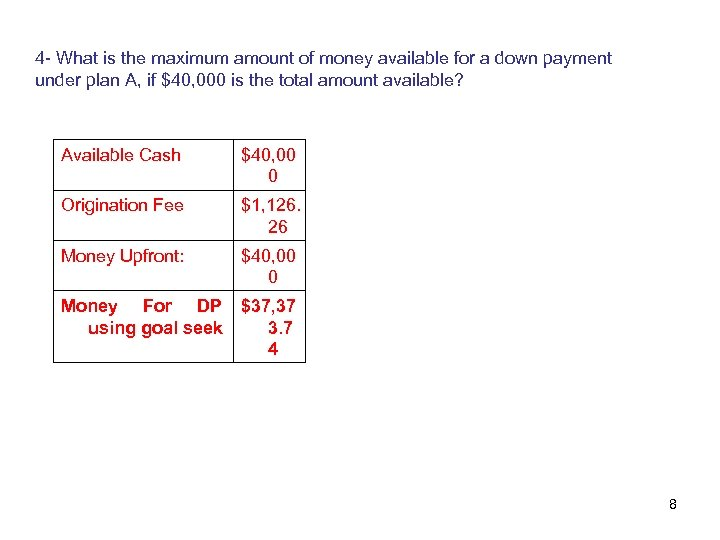 4 - What is the maximum amount of money available for a down payment