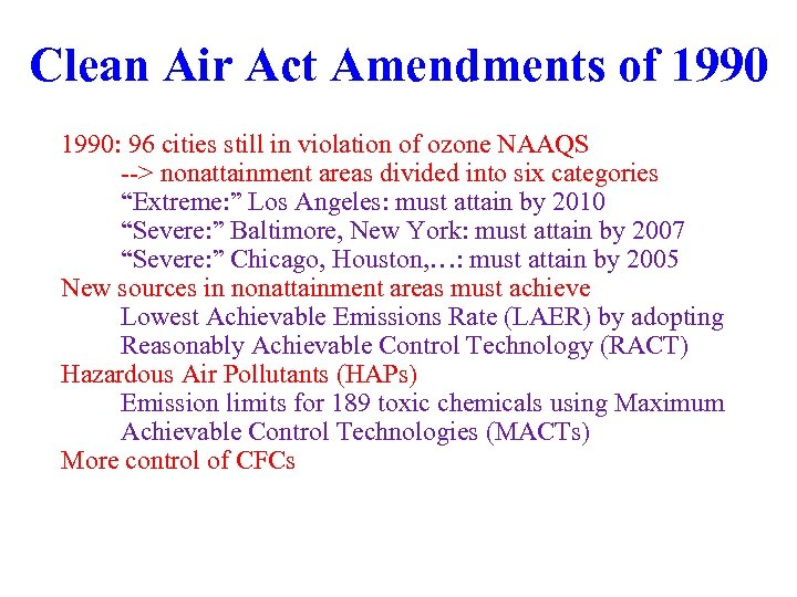 Clean Air Act Amendments of 1990: 96 cities still in violation of ozone NAAQS