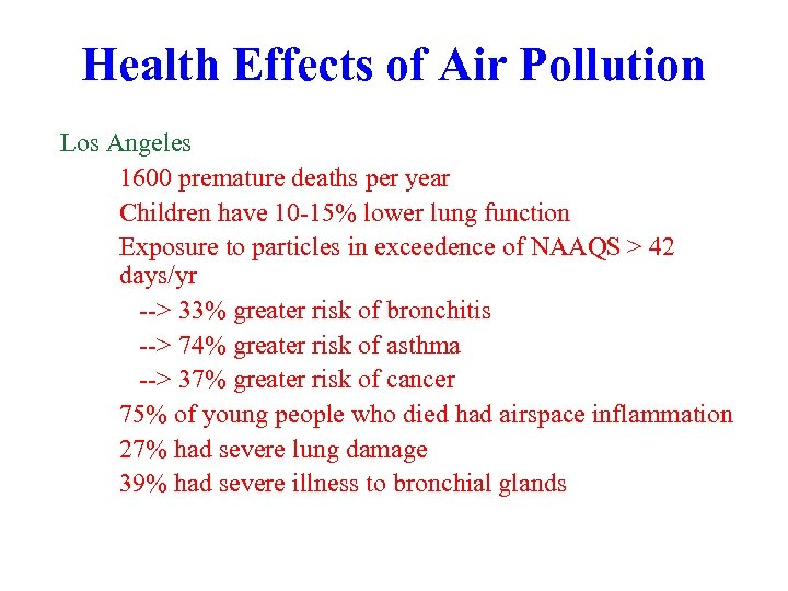 Health Effects of Air Pollution Los Angeles 1600 premature deaths per year Children have