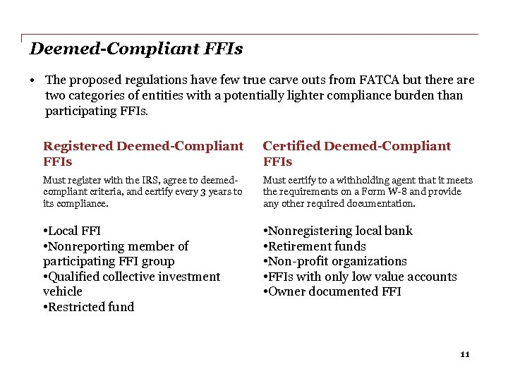 Deemed-Compliant FFIs • The proposed regulations have few true carve outs from FATCA but