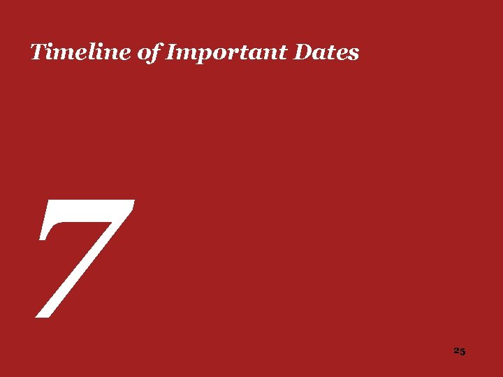 Timeline of Important Dates 7 25