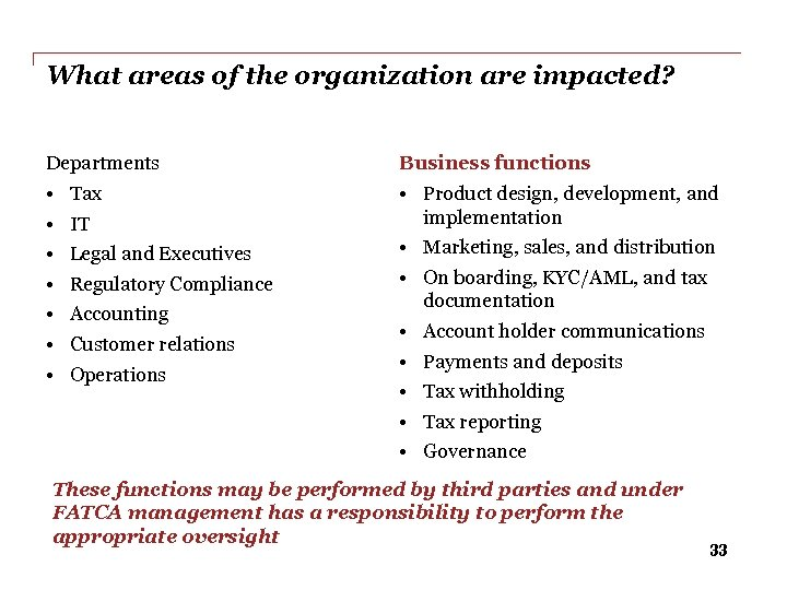 What areas of the organization are impacted? Departments Business functions • • Product design,